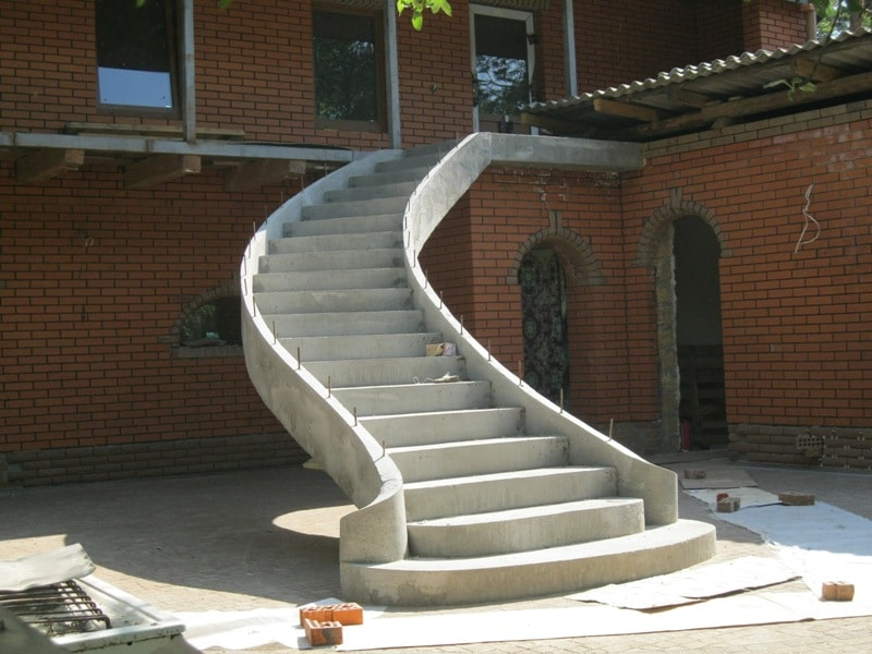 external winding concrete stairs